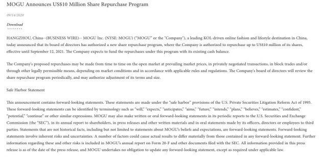 蘑菇街:董事会已批准一项最高达1000万美元的股票回购计划