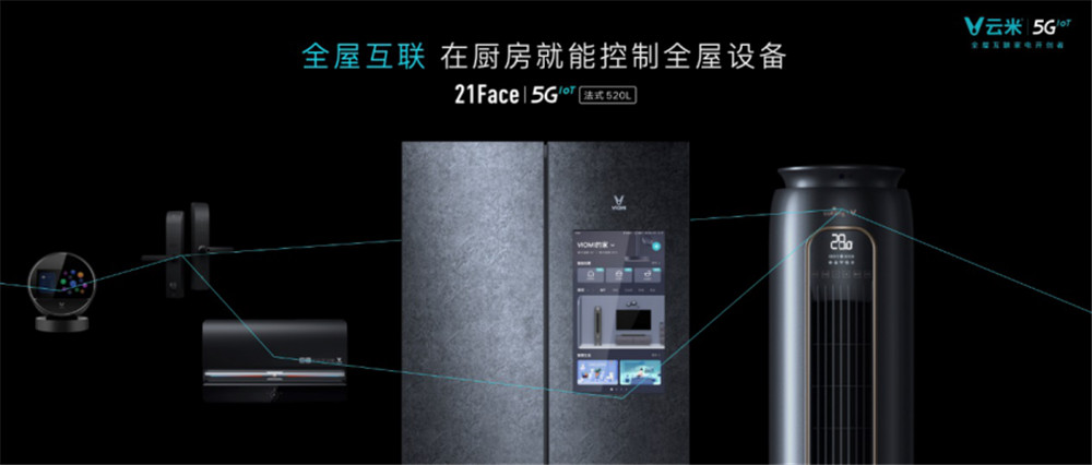 云米5GIoT加速,发布全球首台刷抖音的5GIoT大屏冰箱