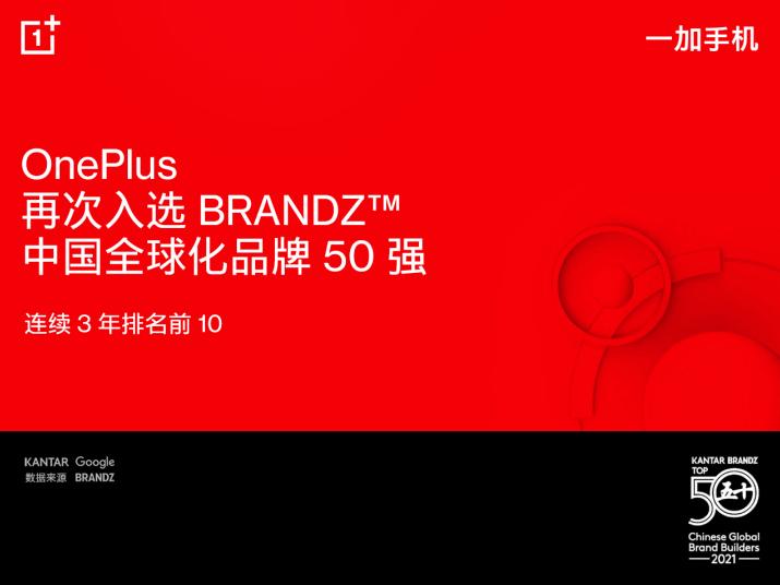一加手机稳居BrandZ中国全球化品牌榜
